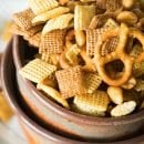 Honey Mustard Homemade Snack Mix ~ Slightly, Sweet and Salty Homemade Snack Mix Flavored with the Perfect Amount of Honey Mustard! One of the Best Snack Mix Recipes!