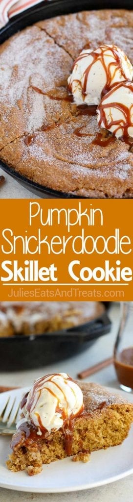 Grab your favorite skillet and break out the pumpkin for this delicious skillet cookie!