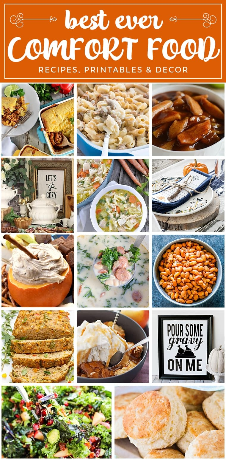 Fall Comfort Food Recipes! It's Fall and it's time to Embrace Comfort Foods Again! We Have Appetizers, Main Dishes and Desserts, Plus Printables and Decor Ideas!