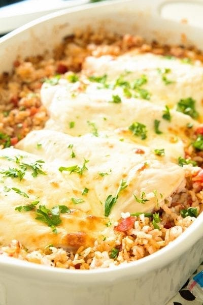 Italian Cheesy Chicken and Rice Casserole Recipe ~ The Ultimate One Dish Casserole That is Light & Healthy! Loaded with Italian Flavors, Chicken, Brown Rice, Cheese & Rice! Quick, Easy Dinner Recipe for the Entire Family!