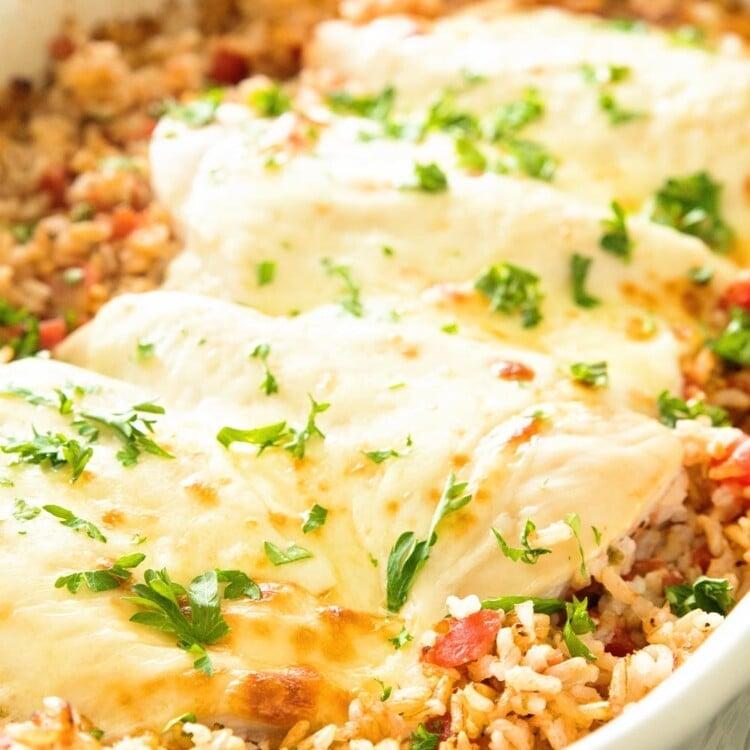 Italian Cheesy Chicken and Rice Casserole in a white baking dish