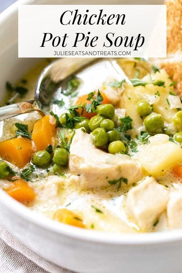 Chicken pot pie soup in a white bowl