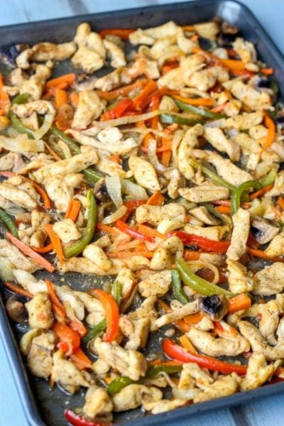 Chicken and vegetable fajitas