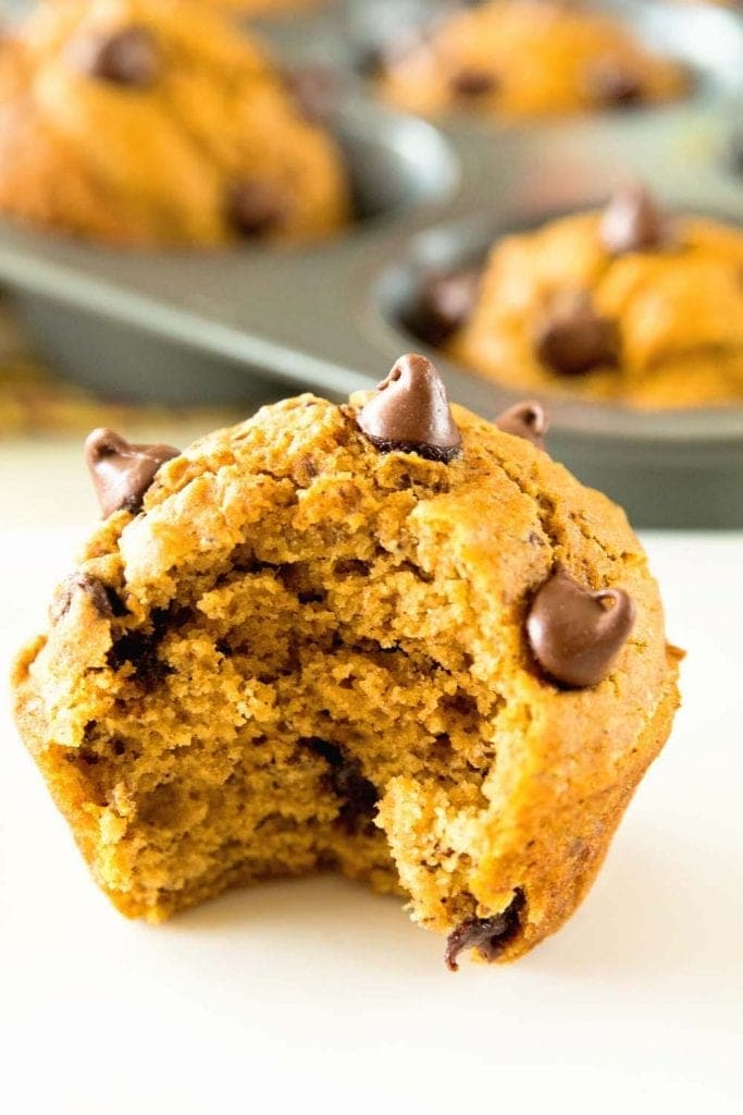 Chocolate Chip Pumpkin Muffins ~ Delicious, Homemade Chocolate Chip Pumpkin Muffins Perfect for Breakfast on the Go! Naturally Sweetened with Honey!
