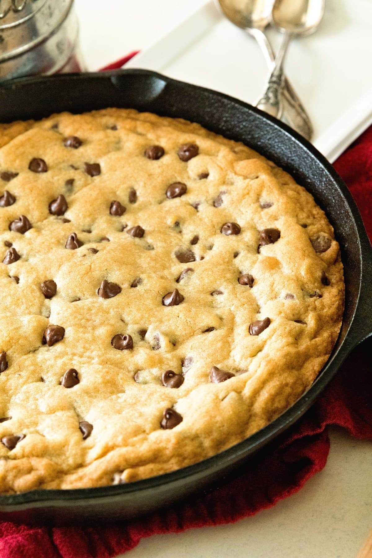 Chocolate Chip Skillet Cookie Recipe~ This Cast Iron Skillet Chocolate Chip Cookie Recipe is the BEST! Perfectly Gooey in the Middle and Crunchy on the Outside. Whip up a Batch Tonight to go With Your JACK'S Pizza!