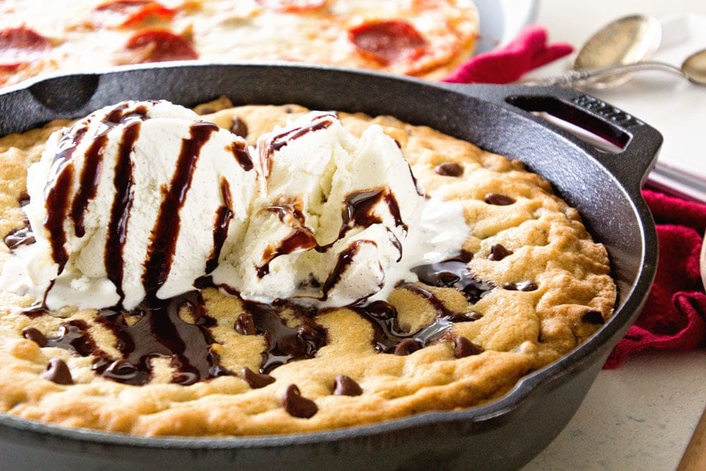 Chocolate chip cookie brownie cast iron skillet