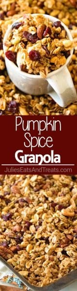 Homemade Pumpkin Spice Granola ~ Perfectly Crunchy, Easy Homemade Granola Recipe with the Perfect Amount of Pumpkin Spice, Crunchy Oats, Sunflower Seeds, Pepitas, Sunflower Seeds, Cranberries and Nuts!