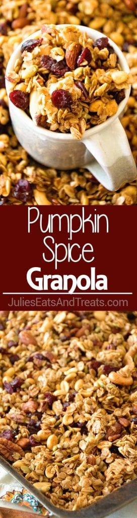 Homemade Pumpkin Spice Granola ~ Perfectly Crunchy, Easy Homemade Granola Recipe with the Perfect Amount of Pumpkin Spice, Crunchy Oats, Sunflower Seeds, Pepitas, Sunflower Seeds, Cranberries and Nuts!