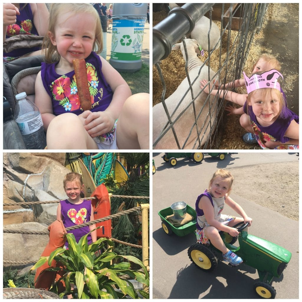 The kids at the fair, playing with the animals and eating the amazing food!
