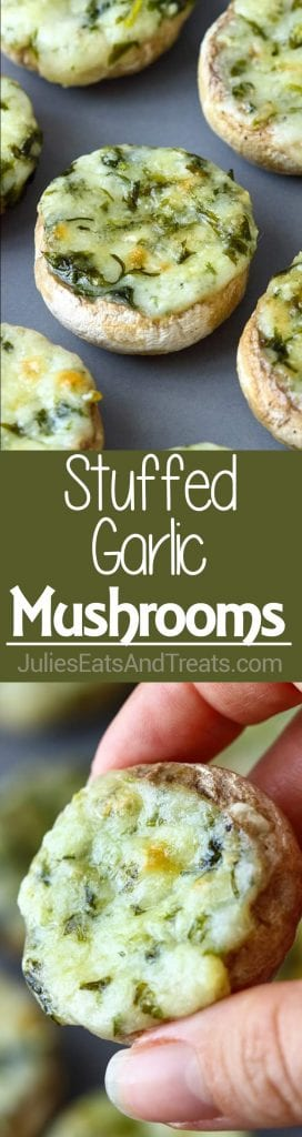 Collage with top image of stuffed mushrooms on a sheet pan, middle green banner with white text reading stuffed garlic mushrooms, and bottom image of a hand holding a stuffed mushroom