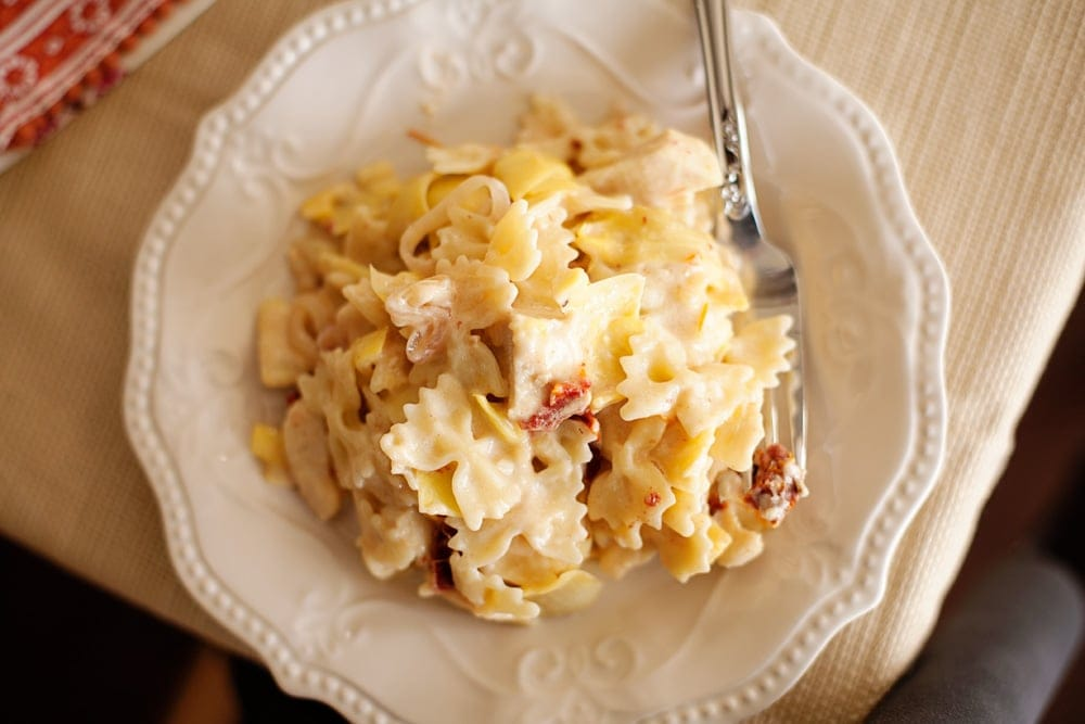 This Sun-dried Tomato and Artichoke Pasta is quick and easy to make with bottled Alfredo sauce.