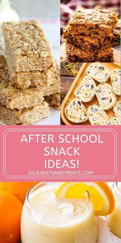 After School Snack Recipes Pin image with top showing a collage of three images of recipes, text overlay of title under and a photo of smoothie on bottom.