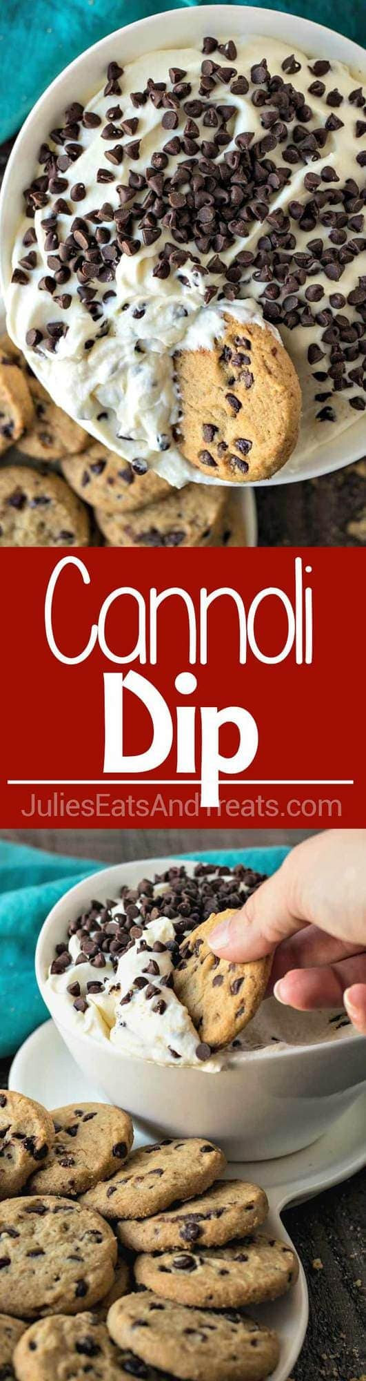 Cannoli Dip - A Creamy Dessert Dip Made from Whipped Cannoli Filling Using Real Marscapone Cheese and Served with Chocolate Chip Cookies!