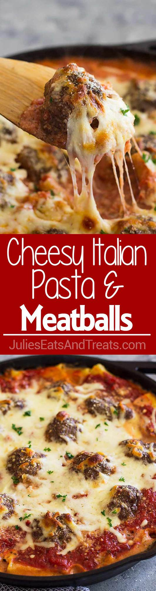 Cheesy Italian Pasta and Meatballs is pure comfort food! Tender and juicy meatballs baked in an easy homemade marinara sauce and cheesy pasta for the perfect meatball pasta!