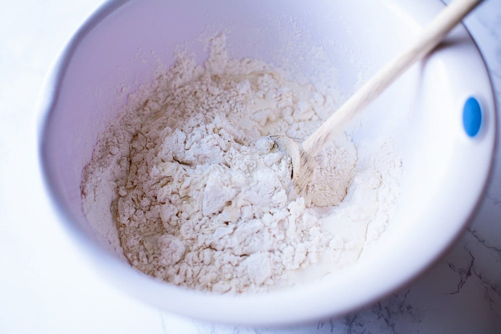 Mix homemade scones ingredients until just combined!