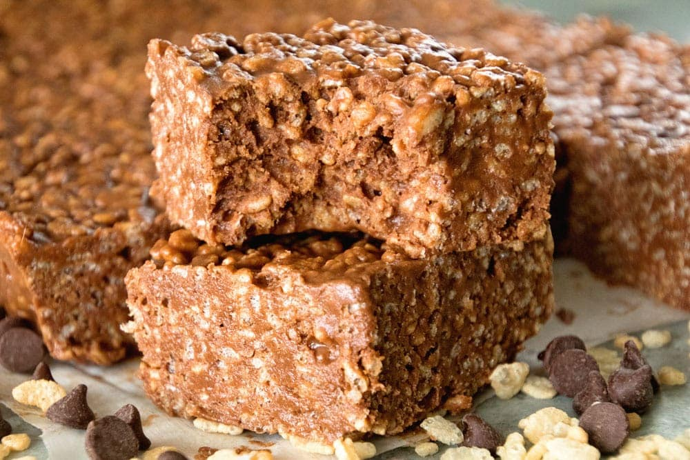 Chocolate Peanut Butter Rice Krispies Treats Video Julie S Eats