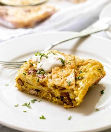 Green chile breakfast enchilada casserole
