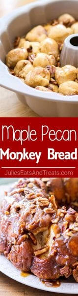 Delicious Homemade Monkey Bread in a Maple Brown Sugar Sauce and Pecans!
