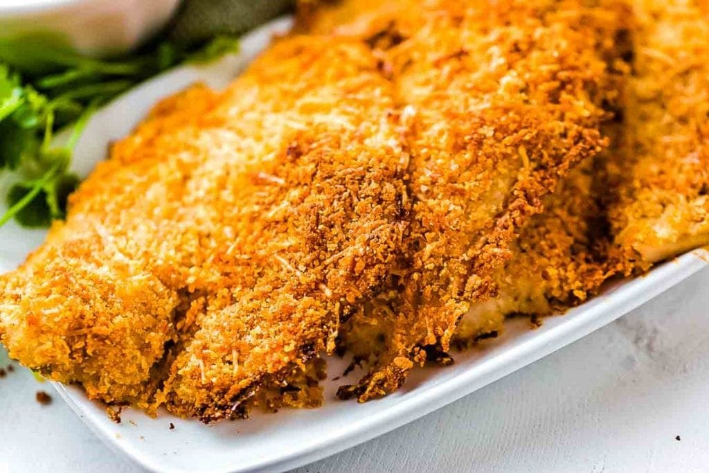 Parmesan Crusted Tilapia panko on white platter