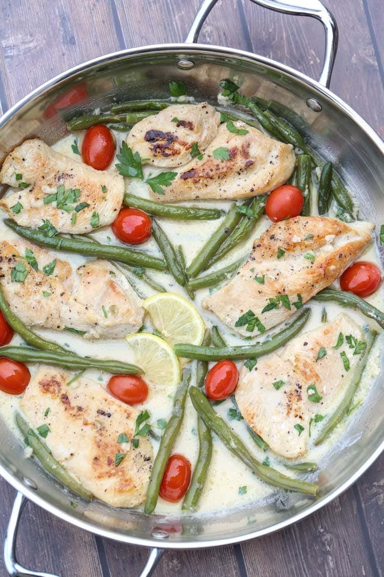 Chicken Skillet Recipe with Green Beans and Tomatoes