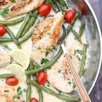 Chicken and Cream Beans in Skillet