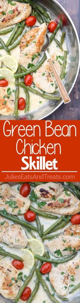 Green Bean Chicken Skillet ~ Chicken Breast with String Green Beans and Tomatoes in a Creamy Garlic Wine Sauce! Quick and Easy Dinner Recipe Ready in 30 Minutes!