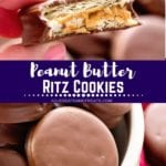 Collage with top image of a peanut butter ritz cookie with a bite missing, middle banner with text reading Peanut butter ritz cookies, and bottom image of a white bowl of cookies