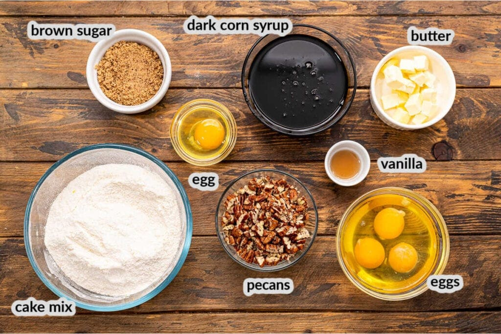 Overhead Image of Pecan Pie Bars Ingredients