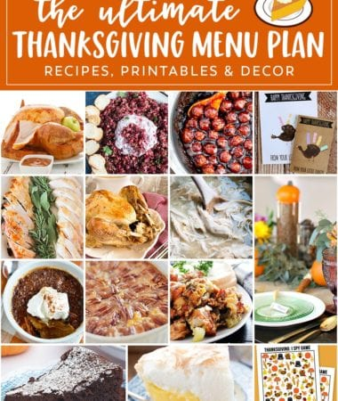 Your Thanksgiving Menu Planner from Start to Finish! Plan Your Thanksgiving Menu Right Here with Recipes for Appetizers, Sides, Main Dishes, Dessert Plus Thanksgiving Printables and Decor Ideas too!