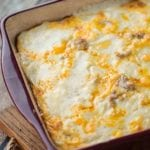 Biscuits and gravy overnight breakfast casserole in a square casserole dish