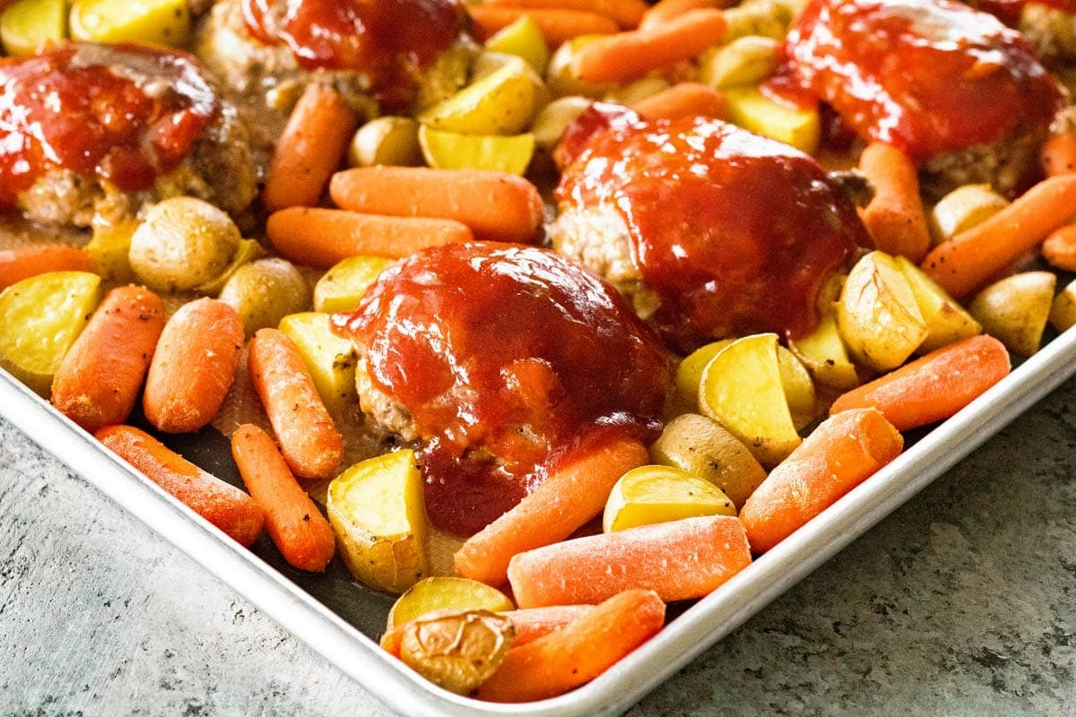 Sheet Pan Mini Meatloaf and Veggies ~ An Easy Sheet Pan Dinner! Homemade Mini Meatloaves, Carrots and Potatoes all Made on One Sheet Pan for Busy Nights!