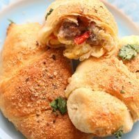 Crescent Rolls with Sausage, Peppers, Egg and Cheese Filling!