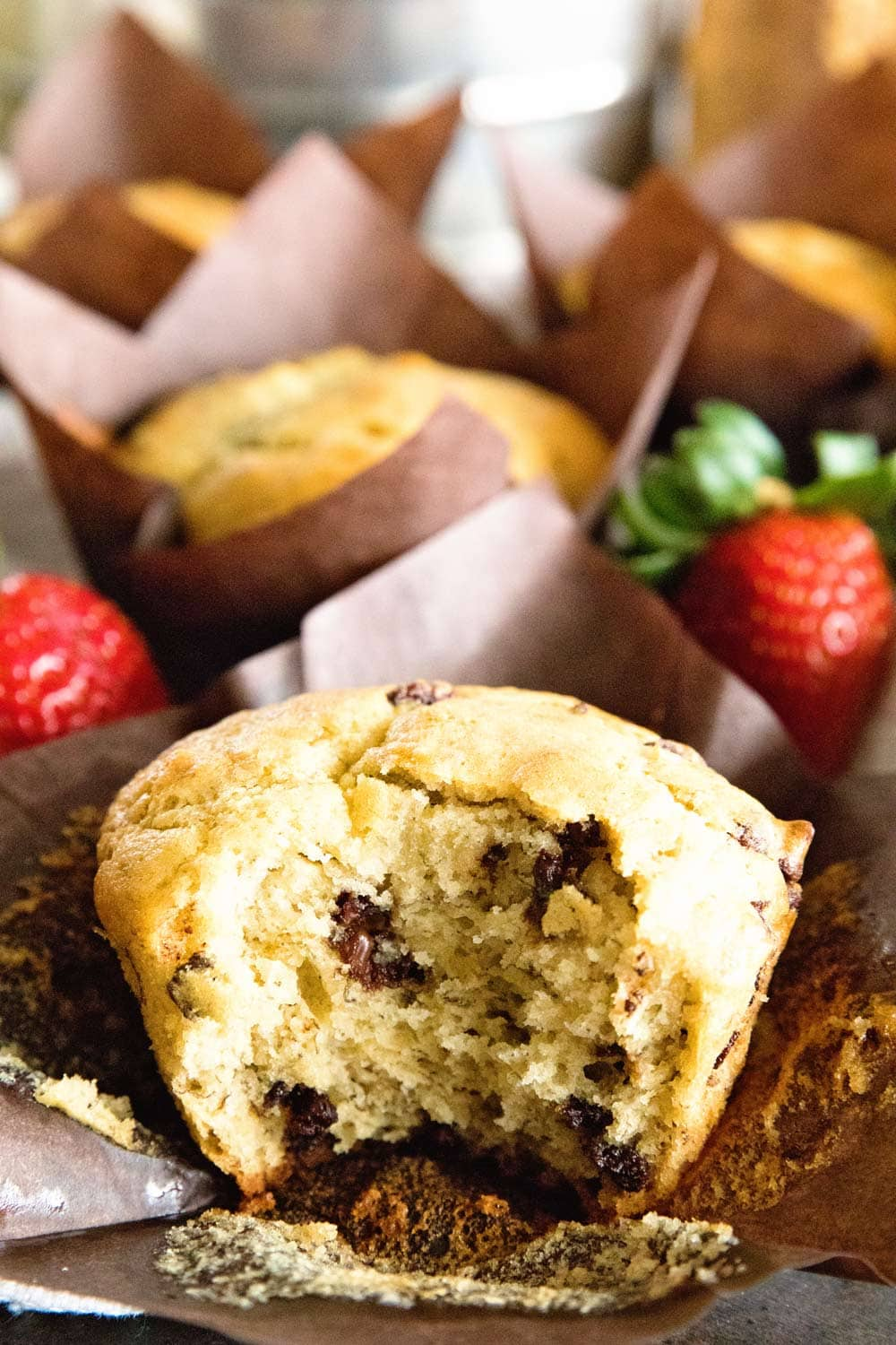 Tender, Moist Banana Muffins with Chocolate chips