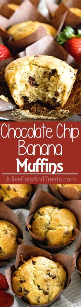 Collage with top image of a chocolate chip muffin with a bite out of it, middle red banner with white text reading chocolate chip banana muffins, and bottom image overhead of chocolate chip muffins with brown muffin liners