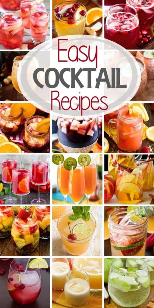 Seventeen photos of cocktails with an oval near the top containing text reading easy cocktail recipes