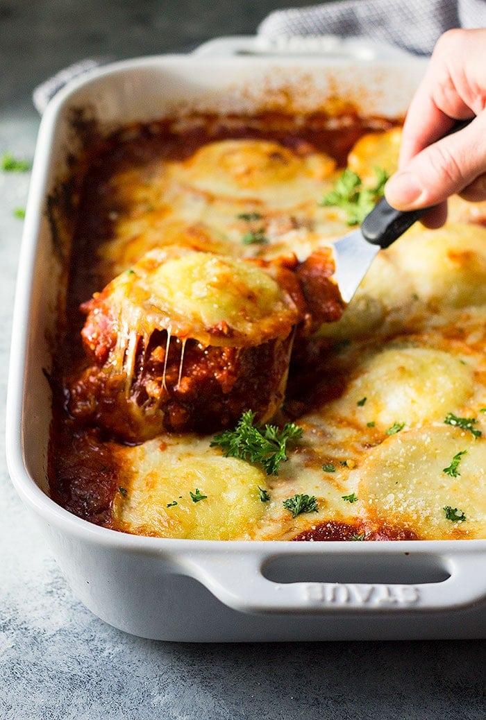 Easy Cheese Ravioli Lasagna Julie S Eats Amp Treats