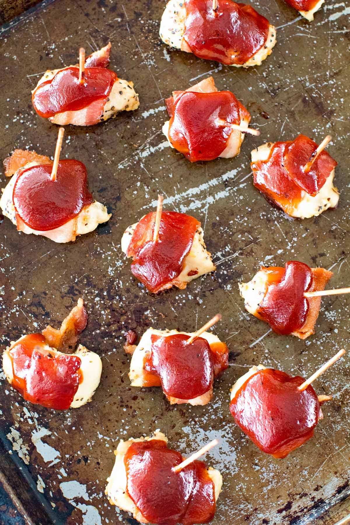 Three Ingredient Appetizer. BBQ Bacon Chicken Bites