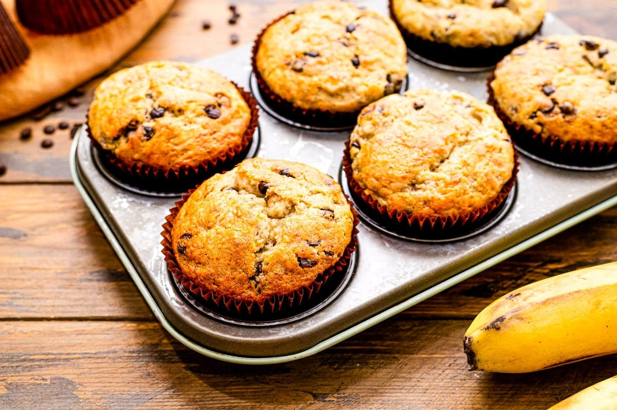 Banana Chocolate Chip Muffins baked in muffin tin