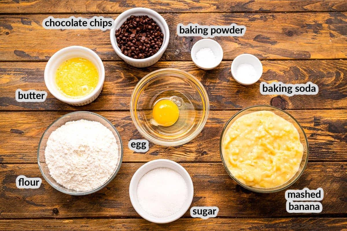 Banana Chocolate Chip Muffins Ingredients