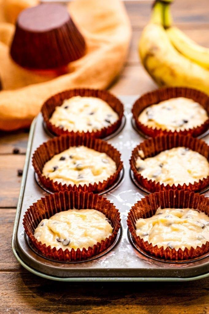 Banana Chocolate Chip Muffins in muffin tin before baking