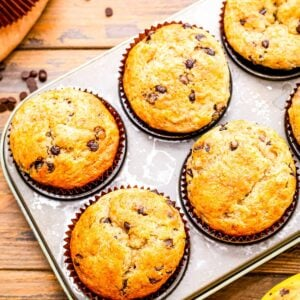 Banana Chocolate Chip Muffins in muffin tin