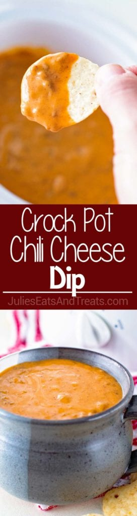 Collage with a top image of a hand holding a chip with dip on it over a white crock pot, middle red banner with white text reading crock pot chili cheese dip, and bottom image of a gray mug of cheese dip