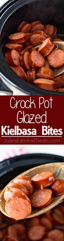 Crock Pot Glazed Kielbasa Bites ~ Only Three Ingredients in this Easy Appetizer Recipe! Kielbasa Glazed with Sweet Brown Sugar and Made in Your Slow Cooker!
