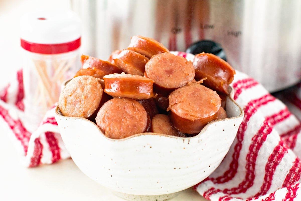 How to make three ingredient crock pot glazed kielbasa bites