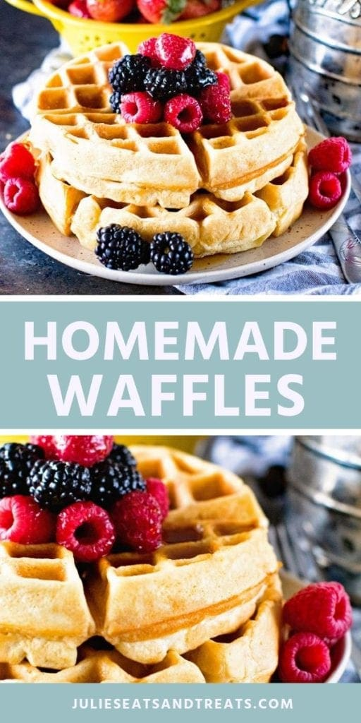 Collage with top image of two waffles on a plate with berries, middle blue banner with white text reading homemade waffles, and bottom image close up of a stack of waffles with berries on top