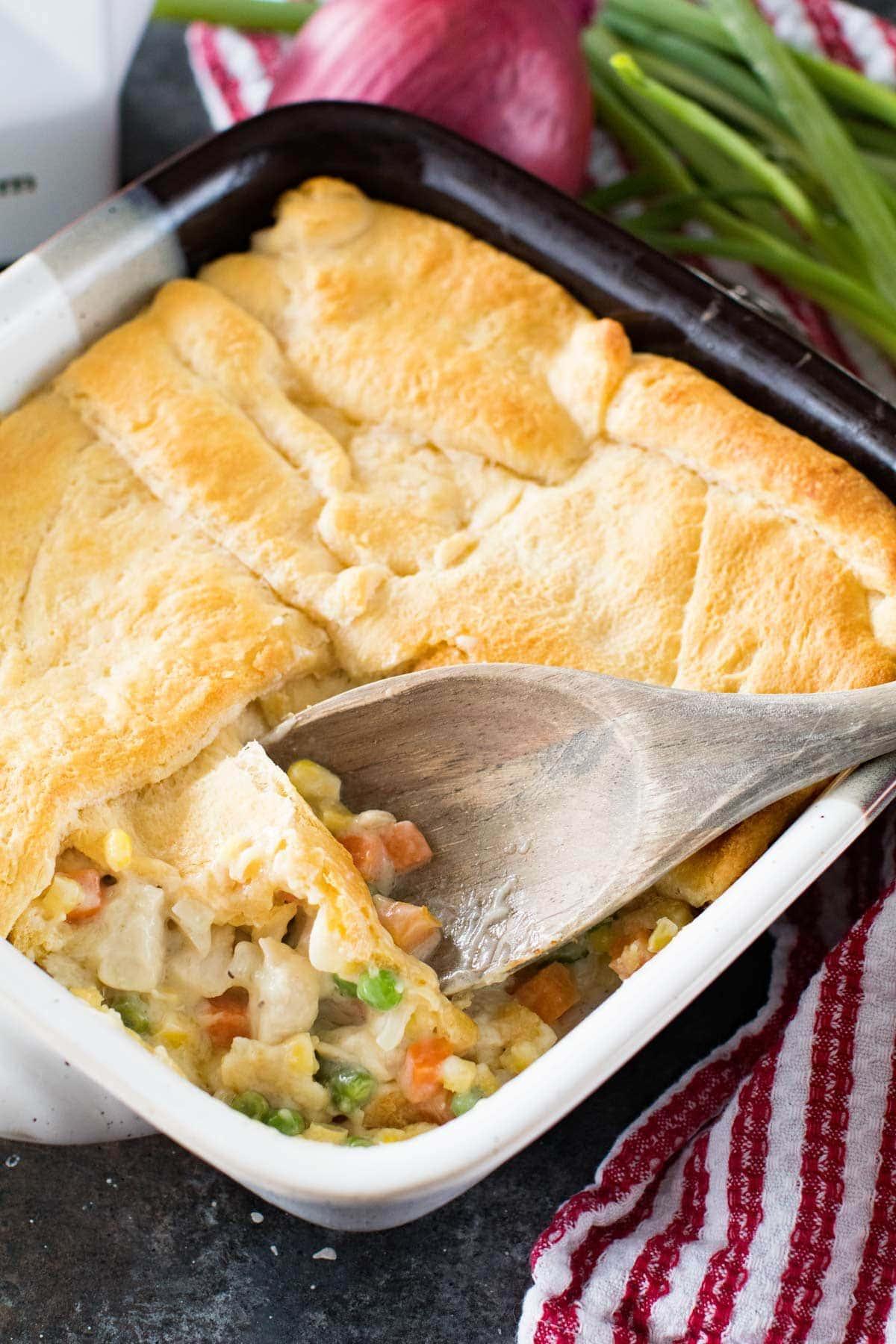 Chicken Pot Pie Casserole in casserole dish