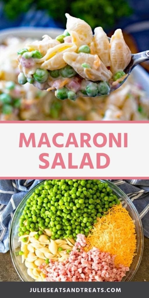 Collage with top image of prepared macaroni salad on a spoon, middle banner with pink text reading macaroni salad, and bottom image of unmixed salad ingredients in glass bowl