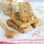 Peanut butter honey no bake granola bars stacked on the counter