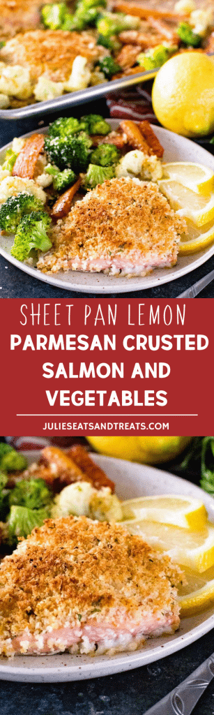 Sheet Pan Lemon Parmesan Crusted Salmon and Vegetables ~ Quick and Easy Dinner Made on a Sheet Pan! Salmon Topped with a Lemon Parmesan Crust and Paired with Roasted Vegetables!