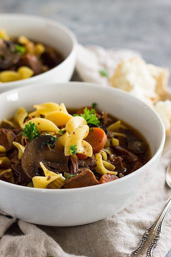 This slow cooker beef and noodle soup is comfort food made easy with the help of the crockpot!